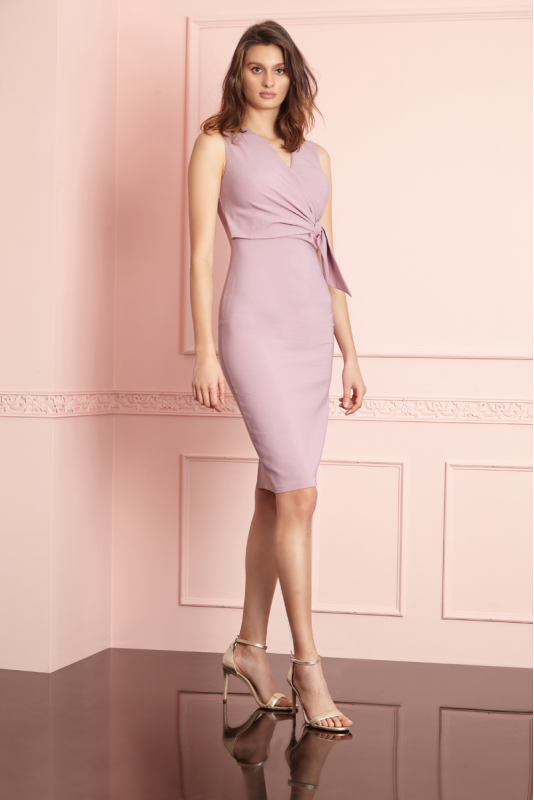 Lilac crepe sleeveless midi dress