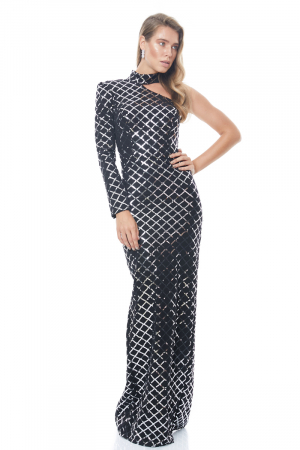 Print y57 sequined crepe single sleeve maxi dress