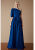 Sax tulle single sleeve maxi dress
