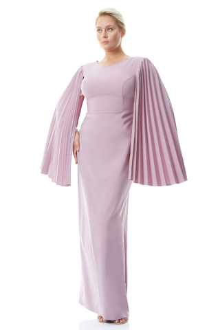 Lilac plus size crepe long sleeve maxi dress