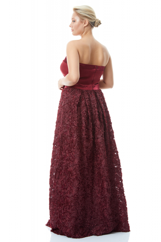 Claret red plus size crepe strapless maxi dress