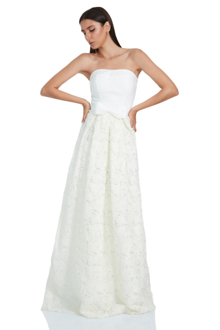 White crepe strapless maxi dress