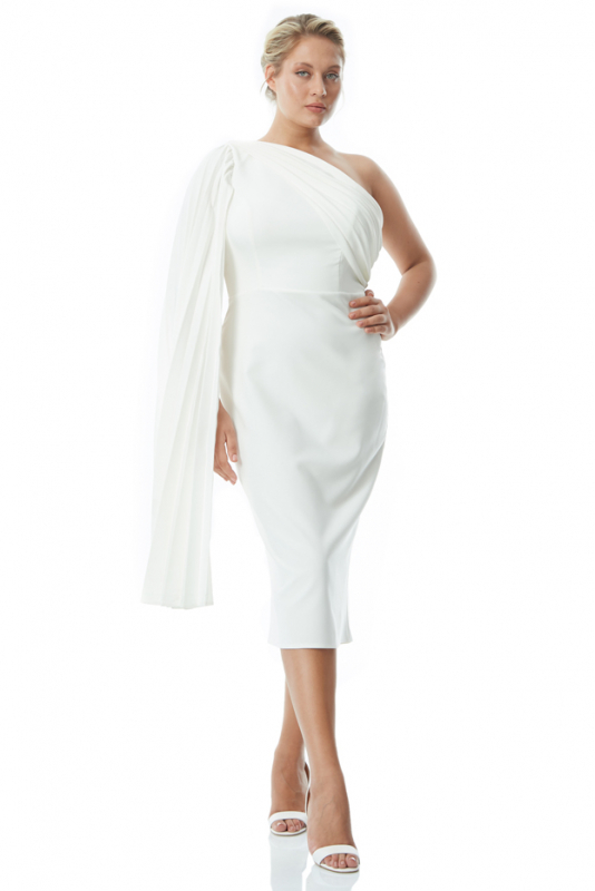 White plus size crepe single sleeve mini dress