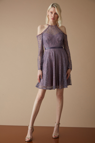 Lilac lace sleeveless mini dress