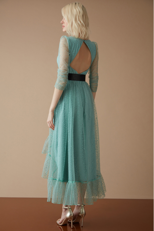 Mint green tulle long sleeve midi dress