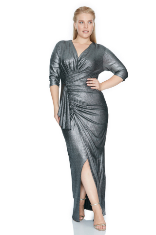 Silver plus size maxi dress