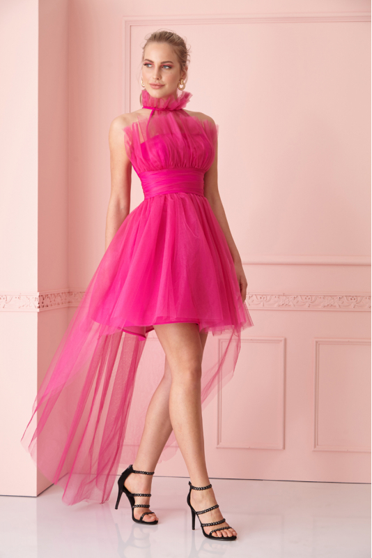 Fuchsia tulle sleeveless mini dress