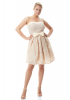 Beige plus size crepe strapless mini dress
