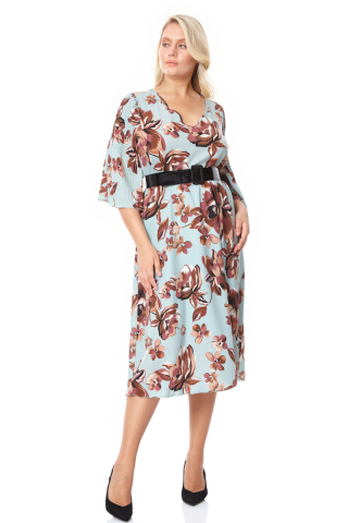 plus size crepe short sleeve midi dress