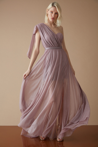 Lilac tulle single sleeve maxi dress