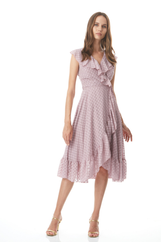 Dusty rose 020 jacquard sleeveless midi dress