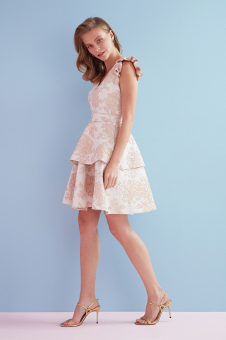 Powder jacquard sleeveless mini dress