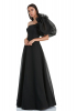 Black tulle single sleeve maxi dress