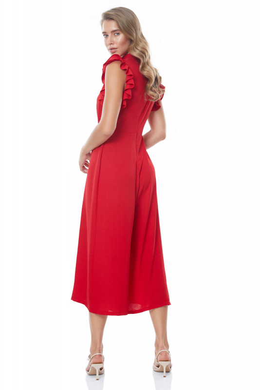 Red sequined sleeveless midi overall