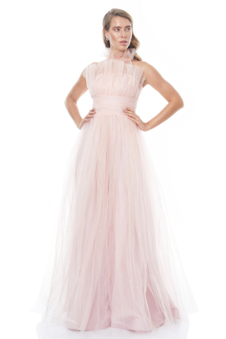Powder tulle sleeveless maxi dress