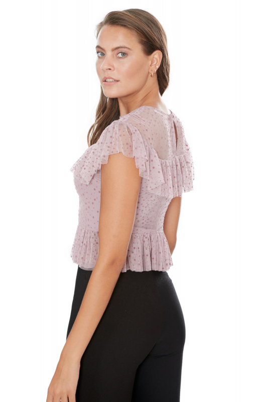 Lilac knitted short sleeve blouse