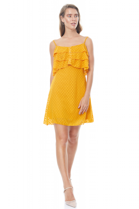 Yellow tulle sleeveless mini dress