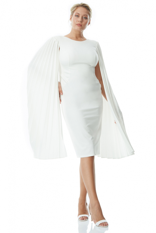 White plus size crepe long sleeve maxi dress