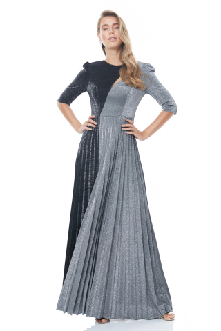 Silver velvet 13 3/4 sleeve maxi dress
