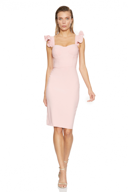 New powder pink crepe strapless mini dress
