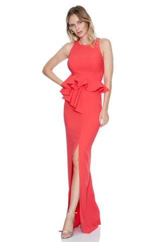 Coral crepe sleeveless maxi dress