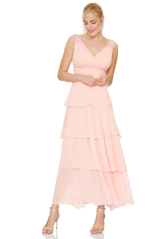 Light pink chiffon sleeveless maxi dress