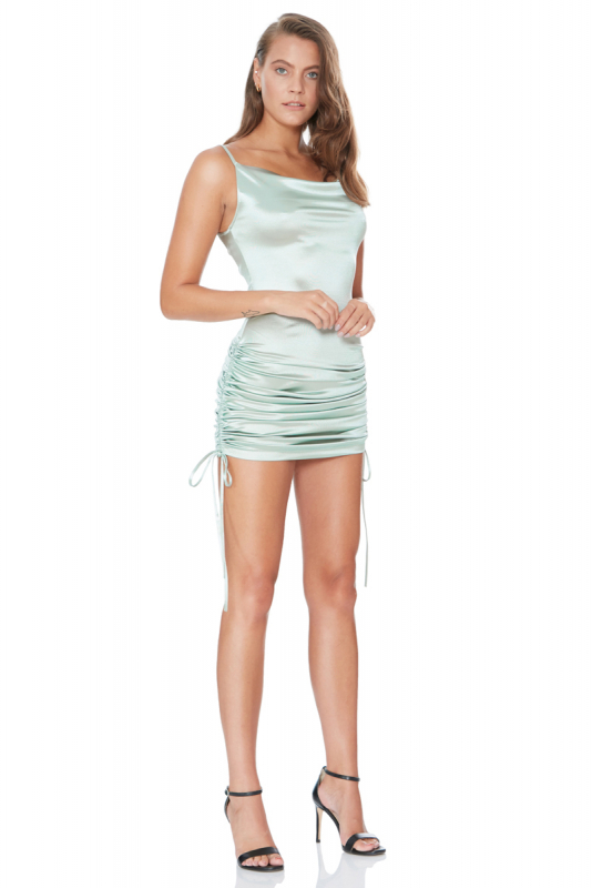 Water green satin sleeveless mini dress