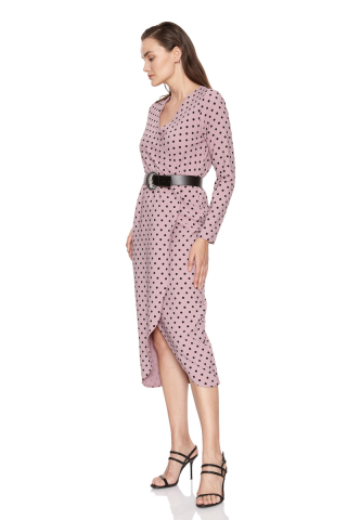 Print f80 crepe long sleeve midi dress