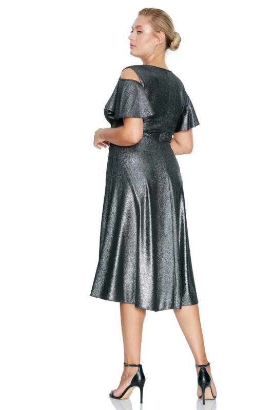 Silver plus size velvet 13 sleeveless midi dress