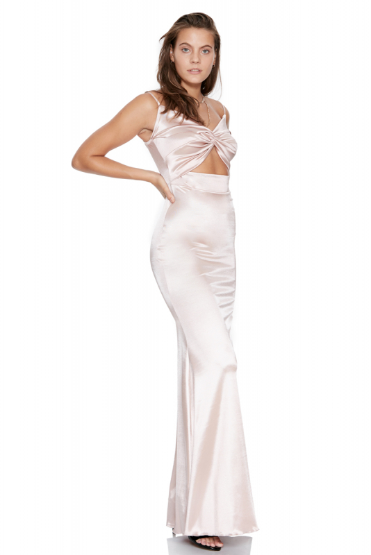 Powder satin sleeveless maxi dress