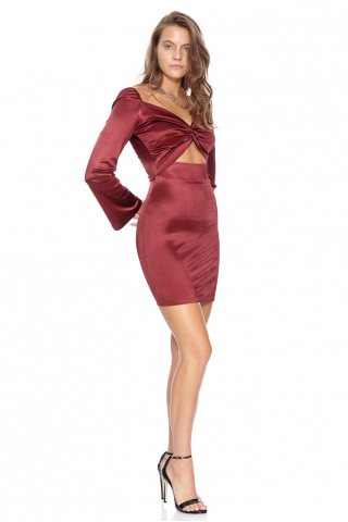 Claret red satin long sleeve mini dress