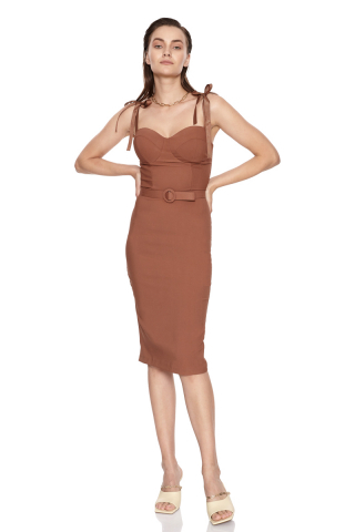 Brown crepe strapless mini dress