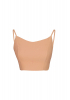 Camel krep kolsuz crop top