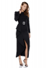 Black crepe long sleeve midi dress