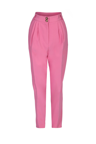 Pink knitted maxi trousers