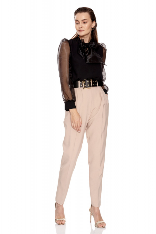 Beige crepe sleeveless maxi trousers