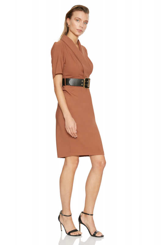 Brown crepe short sleeve midi dress