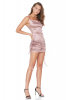 Dusty rose 020 satin sleeveless mini dress