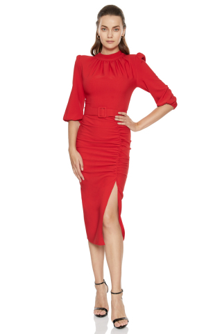 Red crepe 3/4 sleeve midi dress