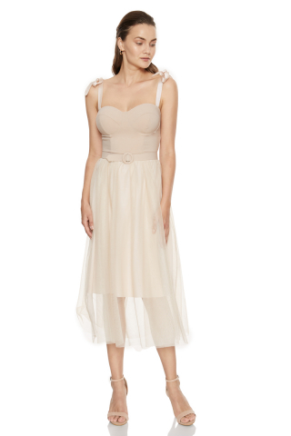 Beige crepe strapless midi dress