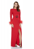 Red crepe long sleeve long dress
