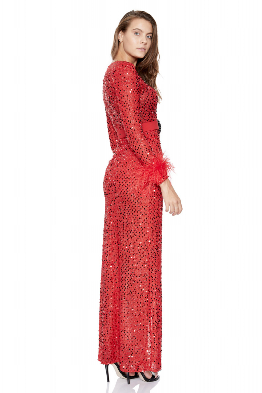 Red sequined long sleeve long dress