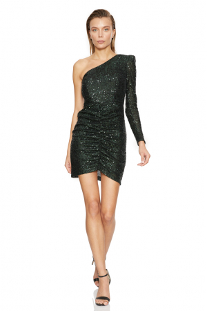 Green sequined single sleeve maxi dress
