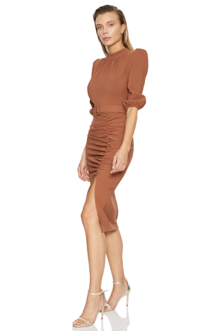 Brown crepe 3/4 sleeve midi dress