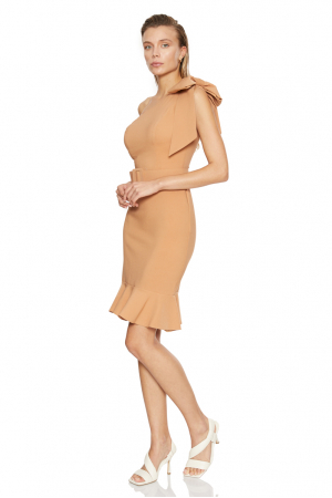 Camel crepe sleeveless mini dress