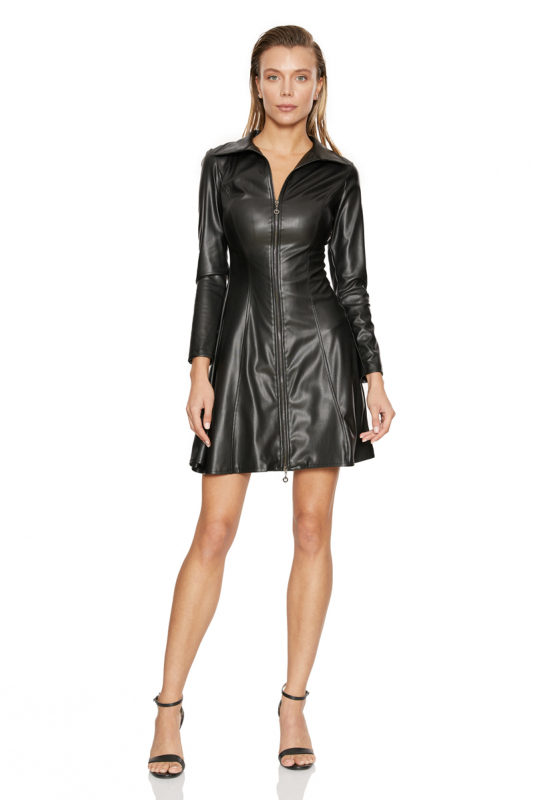 Black leather long sleeve mini dress