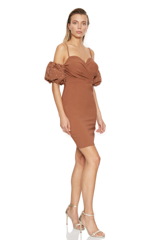 Brown crepe short sleeve mini dress