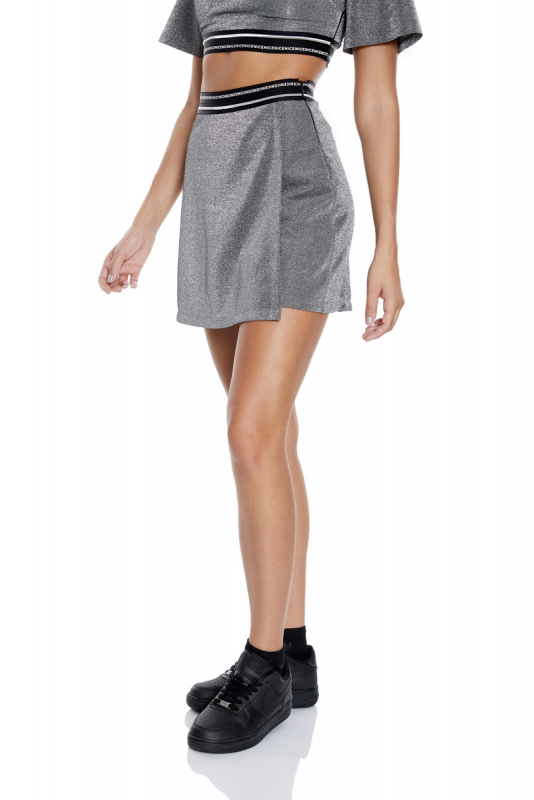 Silver knitted mini skirt