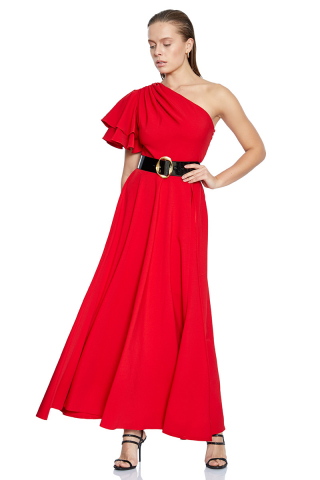 Red crepe single sleeve maxi dress