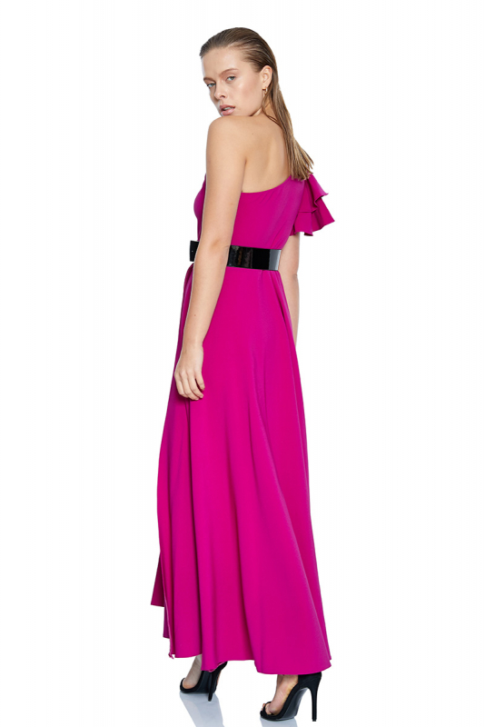 Fuchsia crepe single sleeve maxi dress